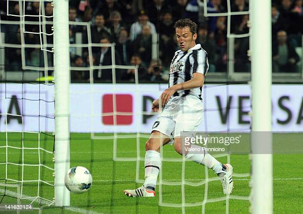Alessandro Del Piero of Juventus FC scores the opening goal during the Tim Cup match between Juventus FC and AC Milan at Juventus Arena on March 20...