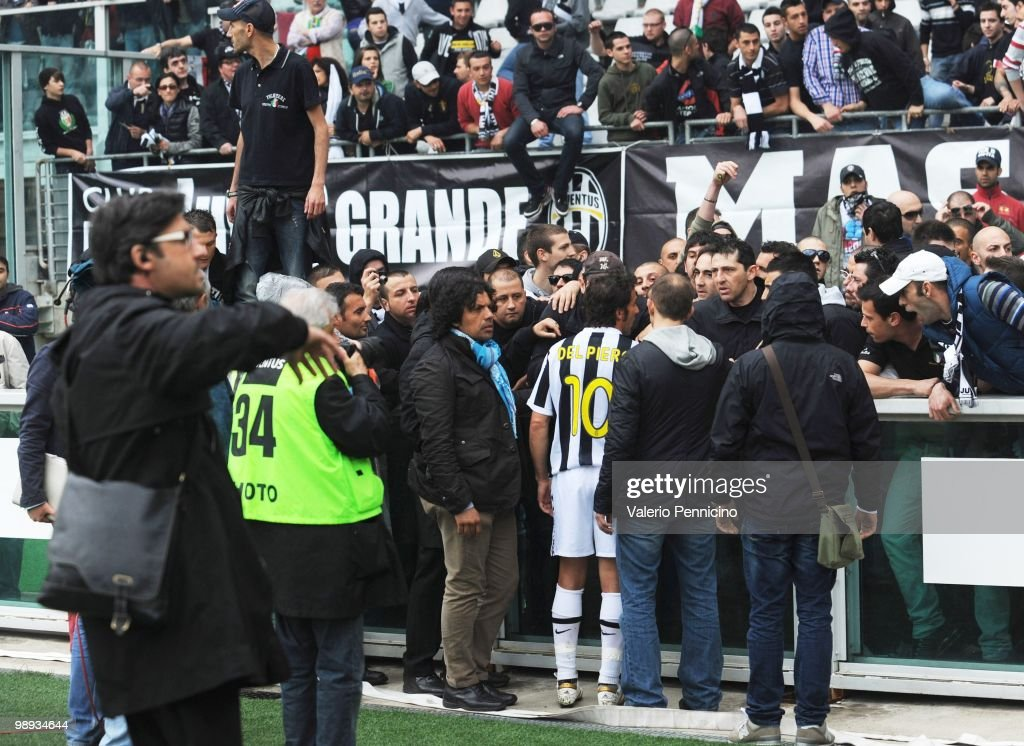 Alessandro Del Piero of Juventus FC speaks to fans requesting that they desist from throwing missiles during the Serie A match between Juventus FC...