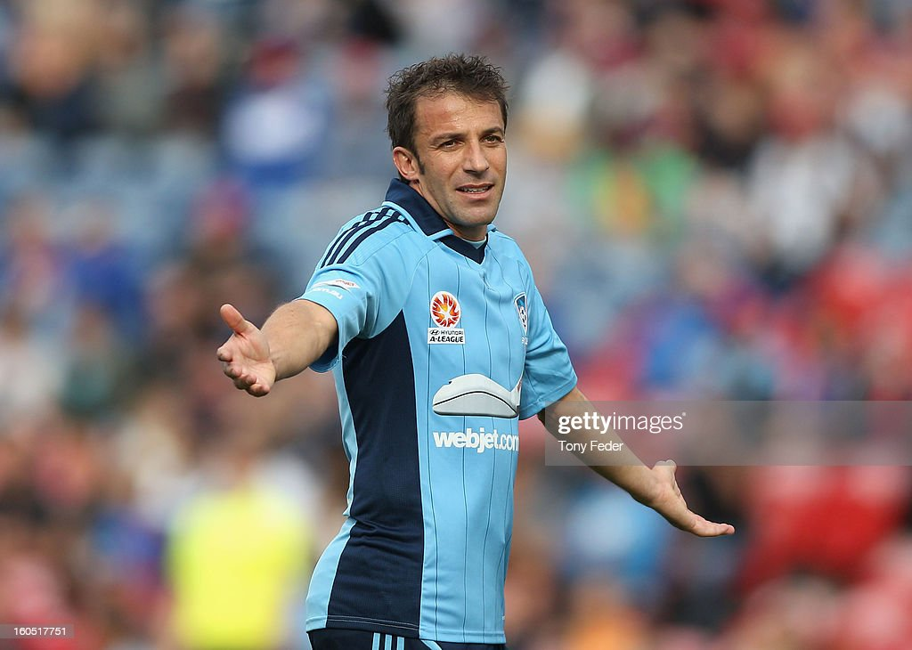Alessandro Del Piero of Sydney appeals to the referee during the round 19 A-League match between the Newcastle Jets and Sydney FC at Hunter Stadium on February 2, 2013 in Newcastle, Australia.