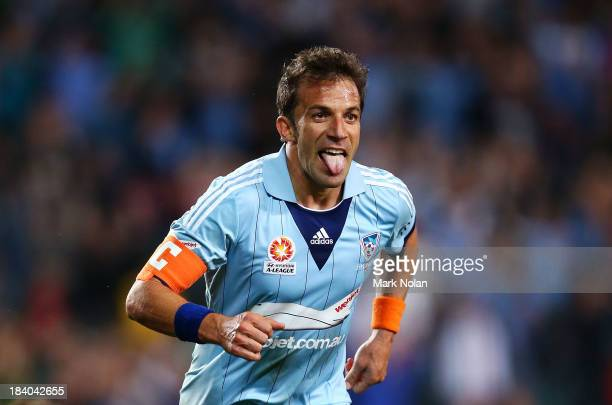Alessandro Del Piero of Sydney celebrates scoring a goal during the round one ALeague match between Sydney FC and the Newcastle Jets at Allianz...