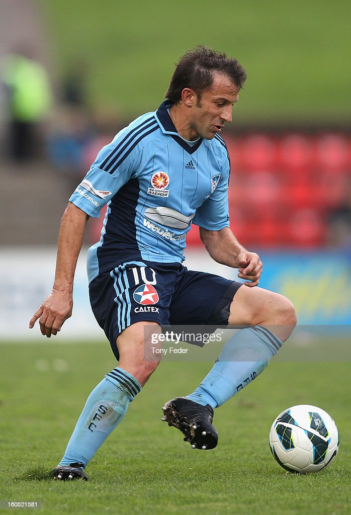 Alessandro Del Piero of Sydney controls the ball during the round 19 A-League match between the Newcastle Jets and Sydney FC at Hunter Stadium on February 2, 2013 in Newcastle, Australia.