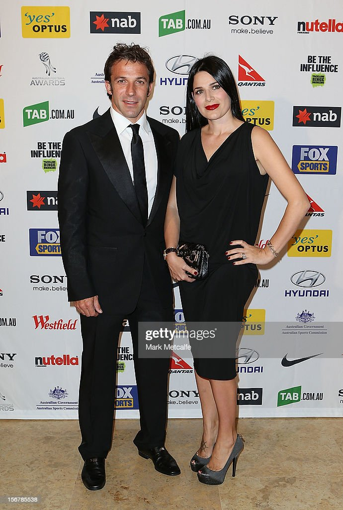 Alessandro del Piero of Sydney FC and his wife <a gi-track='captionPersonalityLinkClicked' href=/galleries/search?phrase=Sonia+Amoruso&family=editorial&specificpeople=2661719 ng-click='$event.stopPropagation()'>Sonia Amoruso</a> pose during the 2012 Australian Football Awards at Sofitel Hotel on November 21, 2012 in Sydney, Australia.