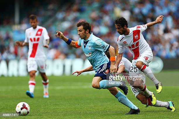 Alessandro Del Piero of Sydney FC beats the defence on the way to scoring the first goal during the round 10 ALeague match between Sydney FC and the...
