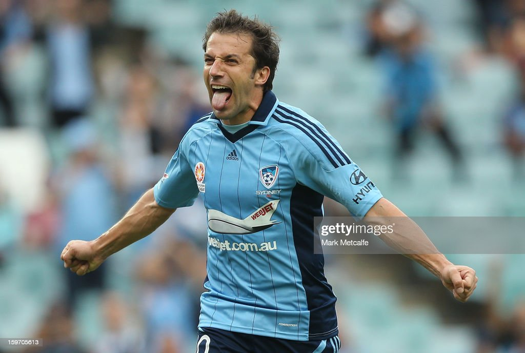 <a gi-track='captionPersonalityLinkClicked' href=/galleries/search?phrase=Alessandro+Del+Piero&family=editorial&specificpeople=206226 ng-click='$event.stopPropagation()'>Alessandro Del Piero</a> of Sydney FC celebrates after scoring a goal during the round 17 A-League match between Sydney FC and the Wellington Phoenix at Allianz Stadium on January 19, 2013 in Sydney, Australia.