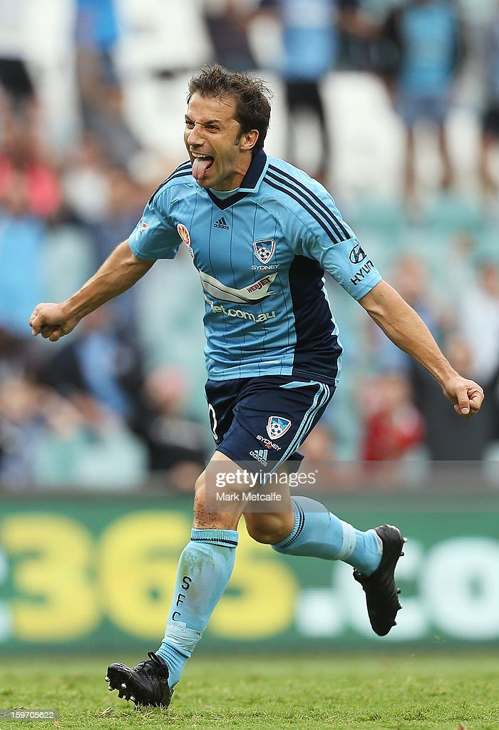 Alessandro Del Piero of Sydney FC celebrates after scoring a goal during the round 17 A-League match between Sydney FC and the Wellington Phoenix at Allianz Stadium on January 19, 2013 in Sydney, Australia.