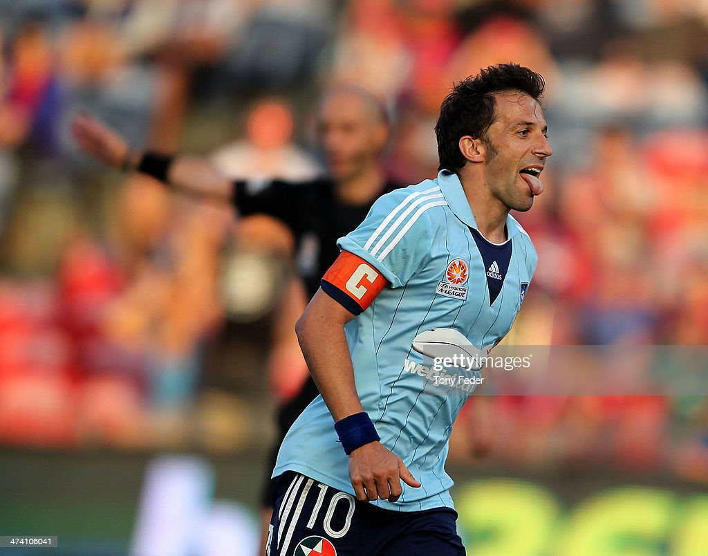 Alessandro Del Piero of Sydney Fc celebrates after scoring from the penalty spot during the round 20 ALeague match between Newcastle Jets v Sydney FC...