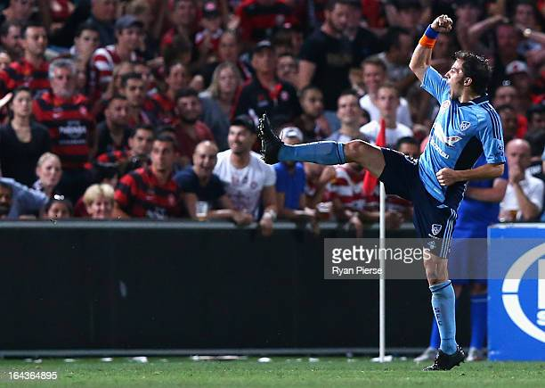Alessandro Del Piero of Sydney FC celebrates after scoring his team's first goal during the round twenty six ALeague match between the Western Sydney...