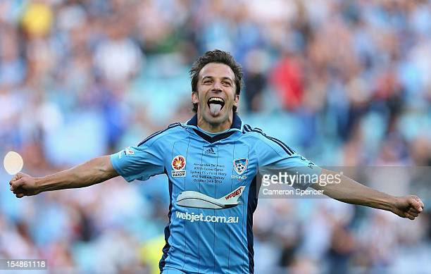 Alessandro del Piero of Sydney FC celebrates kicking a penalty goal in his 800th professional match during the round four ALeague match between...