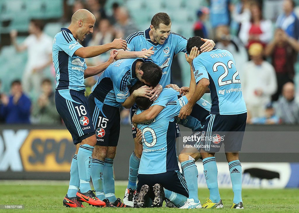 Alessandro Del Piero of Sydney FC celebrates with teammates after scoring his fourth goal during the round 17 A-League match between Sydney FC and the Wellington Phoenix at Allianz Stadium on January 19, 2013 in Sydney, Australia.