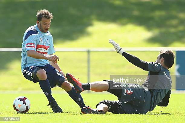 Alessandro Del Piero of Sydney FC controls the ball during a Sydney FC ALeague training session at Macquarie Uni on October 10 2013 in Sydney...