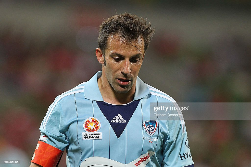 Alessandro Del Piero of Sydney FC looks dejected following the round 17 ALeague match between Melbourne Heart and Sydney FC at AAMI Park on January...