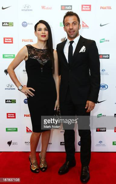 Alessandro Del Piero of Sydney FC poses on the red carpet with his wife Sonia Amoruso during the 2013 Australian Football Awards at Sydney Convention...