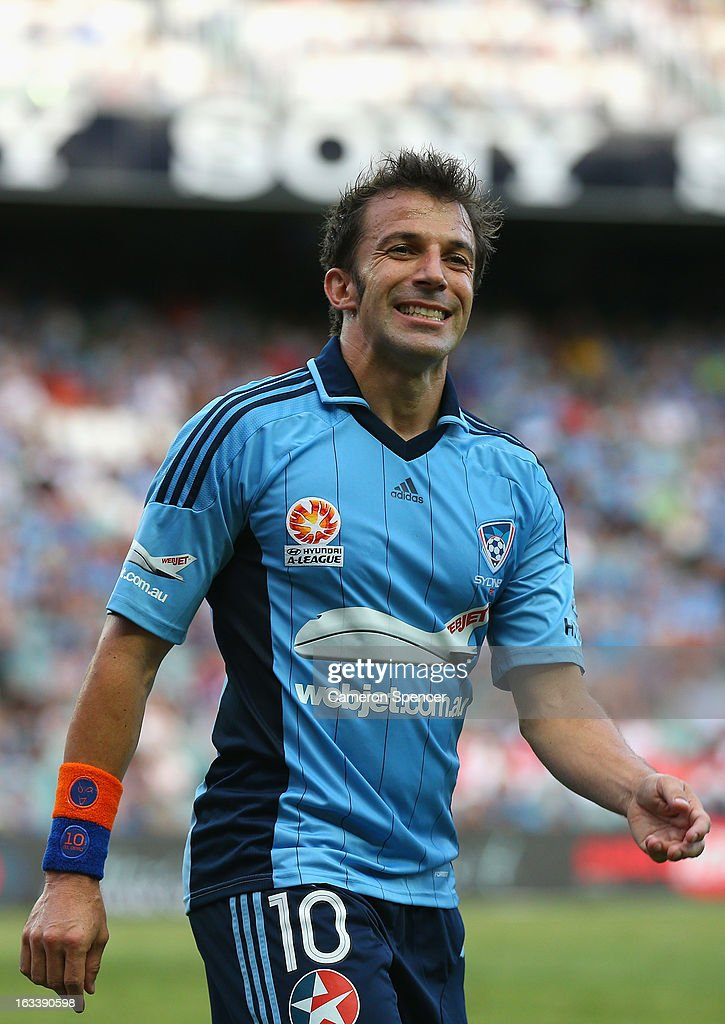 <a gi-track='captionPersonalityLinkClicked' href=/galleries/search?phrase=Alessandro+Del+Piero&family=editorial&specificpeople=206226 ng-click='$event.stopPropagation()'>Alessandro Del Piero</a> of Sydney FC reacts to a shot at goal during the round 24 A-League match between Sydney FC and the Central Coast Mariners at Allianz Stadium on March 9, 2013 in Sydney, Australia.