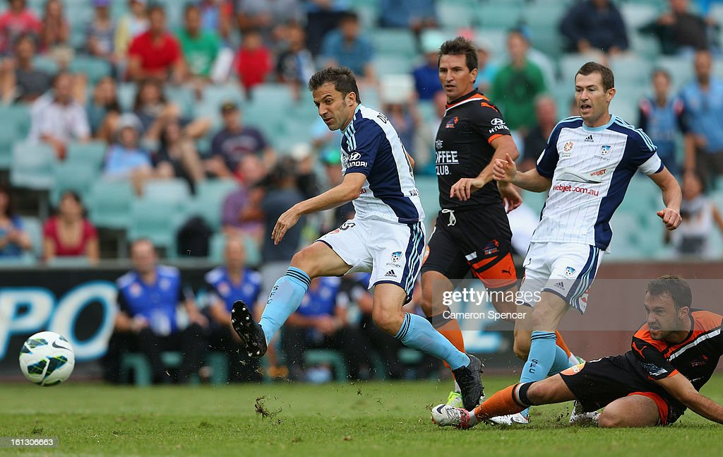 Alessandro del Piero of Sydney FC scores a goal during the round 20 A-League match between Sydney FC and the Brisbane Roar at Allianz Stadium on February 10, 2013 in Sydney, Australia.