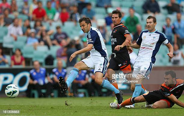 Alessandro del Piero of Sydney FC scores a goal during the round 20 ALeague match between Sydney FC and the Brisbane Roar at Allianz Stadium on...