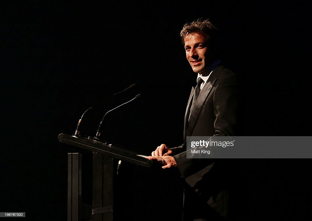 Alessandro Del Piero of Sydney FC speaks on stage during the 2012 Australian Football Awards at Sofitel Hotel on November 21, 2012 in Sydney, Australia.