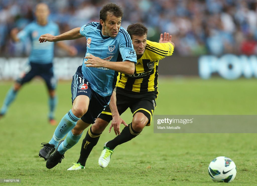 Alessandro Del Piero of Sydney FC takes on Vince Lia of the Phoenix during the round 17 A-League match between Sydney FC and the Wellington Phoenix at Allianz Stadium on January 19, 2013 in Sydney, Australia.