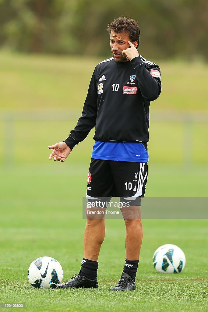 Alessandro Del Piero of Sydney gestures during a Sydney FC A-League training session at Macquarie Uni on November 15, 2012 in Sydney, Australia.