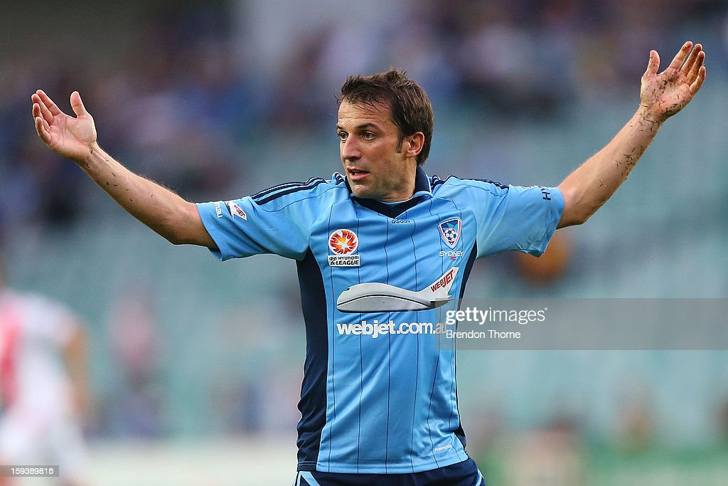 <a gi-track='captionPersonalityLinkClicked' href=/galleries/search?phrase=Alessandro+Del+Piero&family=editorial&specificpeople=206226 ng-click='$event.stopPropagation()'>Alessandro Del Piero</a> of Sydney gestures during the round 16 A-League match between Sydney FC and the Melbourne Heart at Allianz Stadium on January 13, 2013 in Sydney, Australia.