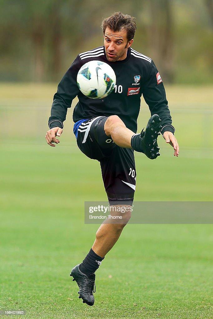 Alessandro Del Piero of Sydney kicks during a Sydney FC A-League training session at Macquarie Uni on November 15, 2012 in Sydney, Australia.