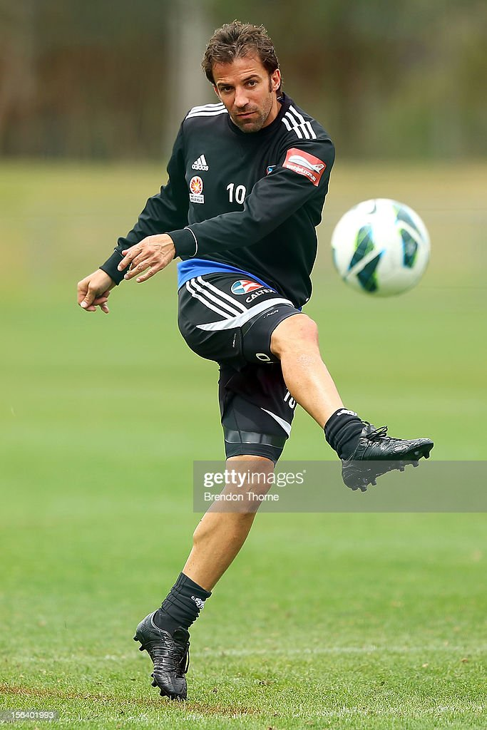 Alessandro Del Piero of Sydney kicks during a Sydney FC A-League training session at Macquarie Uni on November 15, 2012 in Sydney, Australia.