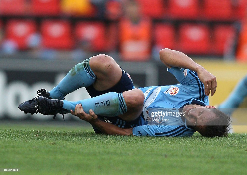 Alessandro Del Piero of Sydney lies on the ground in pain during the round 19 A-League match between the Newcastle Jets and Sydney FC at Hunter Stadium on February 2, 2013 in Newcastle, Australia.