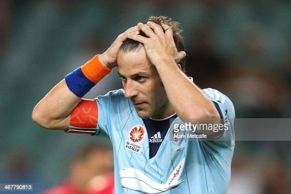 Alessandro Del Piero of Sydney reacts to a missed opportunity during the round 18 ALeague match between Sydney FC and Adelaide United at Allianz...