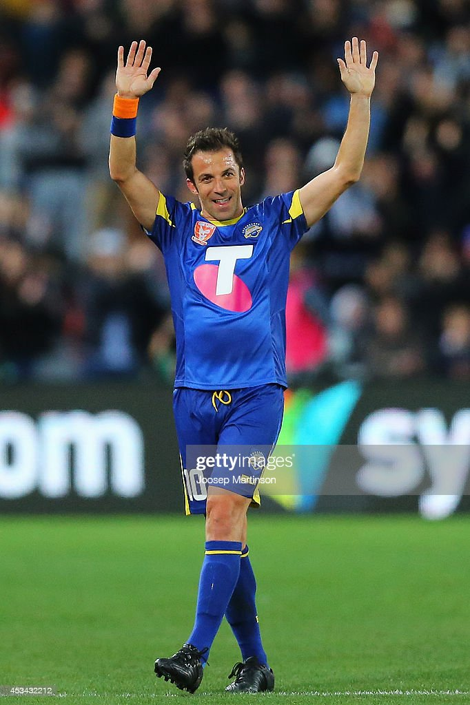 Alessandro del Piero of the All Stars thanks the crowd during the match between the ALeague All Stars and Juventus at ANZ Stadium on August 10 2014...