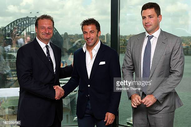 Alessandro Del Piero poses with Sydney FC CEO Tony Pignata and Sydney FC Chairman Scott Barlow during an ALeague press conference at Gateway Building...