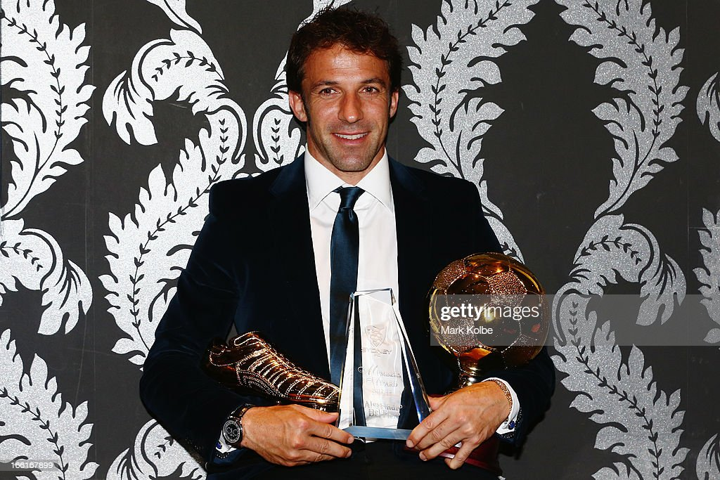 <a gi-track='captionPersonalityLinkClicked' href=/galleries/search?phrase=Alessandro+Del+Piero&family=editorial&specificpeople=206226 ng-click='$event.stopPropagation()'>Alessandro Del Piero</a> poses with the Golden Boot Award, the Sydney FC Members Award and the 2012/13 Sydney FC Player of the Year at the Sydney FC Sky Blue Ball at Doltone House on April 9, 2013 in Sydney, Australia.