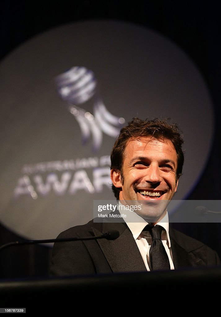 Alessandro del Piero speaks during the 2012 Australian Football Awards at Sofitel Hotel on November 21, 2012 in Sydney, Australia.