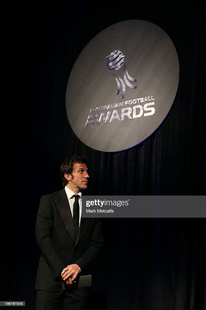 Alessandro del Piero speaks on stage during the 2012 Australian Football Awards at Sofitel Hotel on November 21, 2012 in Sydney, Australia.
