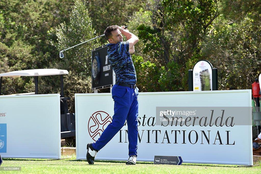 Alessandro Del Piero tees off during The Costa Smeralda Invitational golf tournament at Pevero Golf Club - Costa Smeralda on June 25, 2016 in Olbia, Italy.