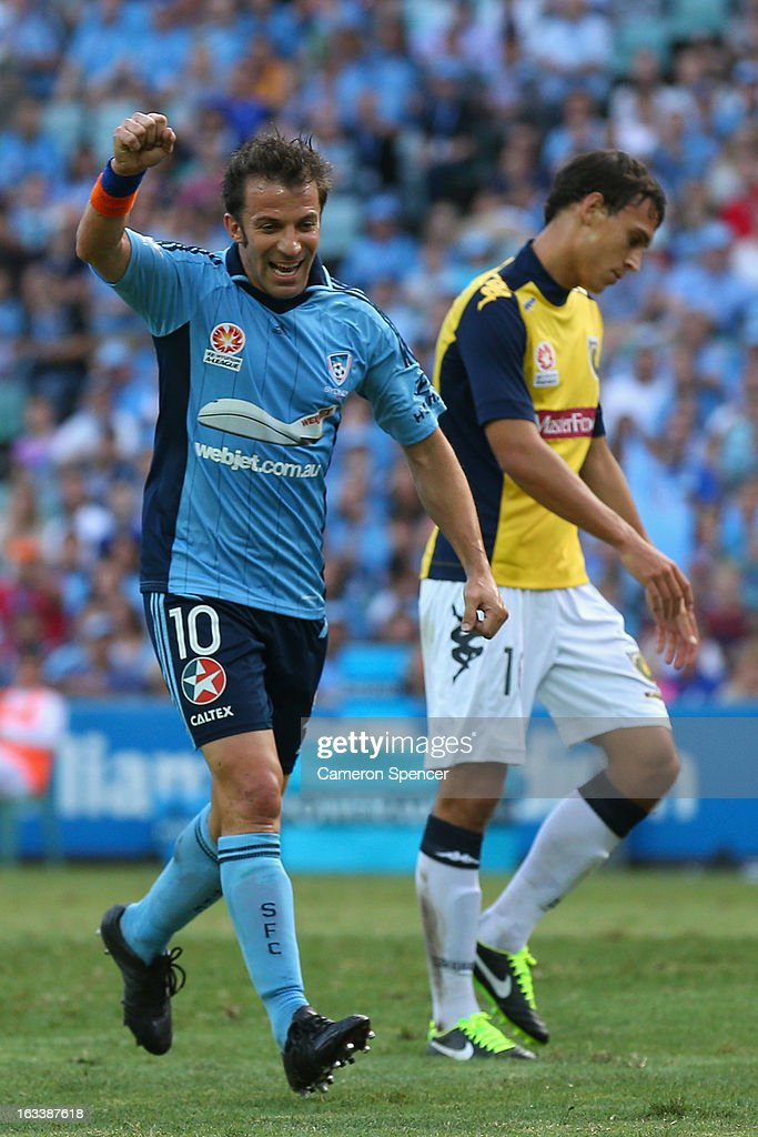 Alessandro Del Pierro of Sydney FC celebrates a goal by team mate Sebastian Ryall during the round 24 A-League match between Sydney FC and the Central Coast Mariners at Allianz Stadium on March 9, 2013 in Sydney, Australia.