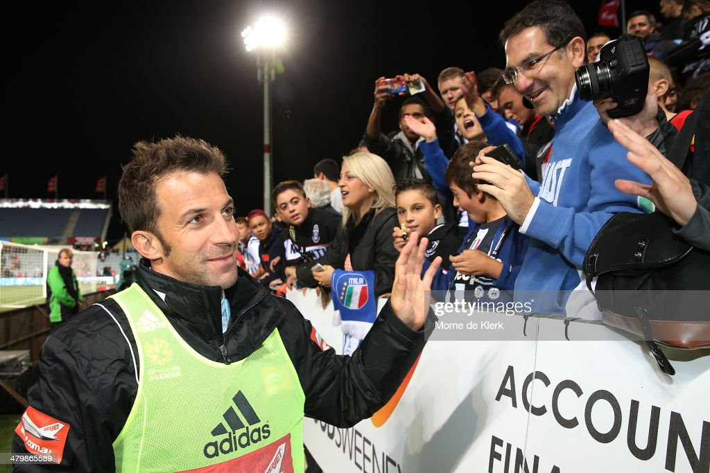 Alessandro Del Pierro of Sydney greets supporters after the round 24 A-League match between Adelaide United and Sydney FC at Coopers Stadium on March 21, 2014 in Adelaide, Australia.