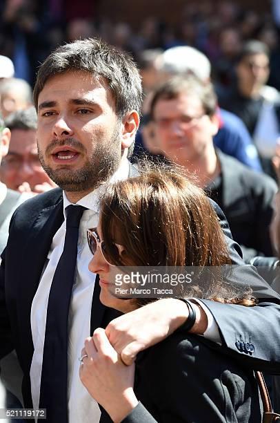 Alessandro Di Battista and Carla Ruocco leave the church of Santa Maria delle Grazie attend the coffin of Gianroberto Casaleggio during Gianroberto...