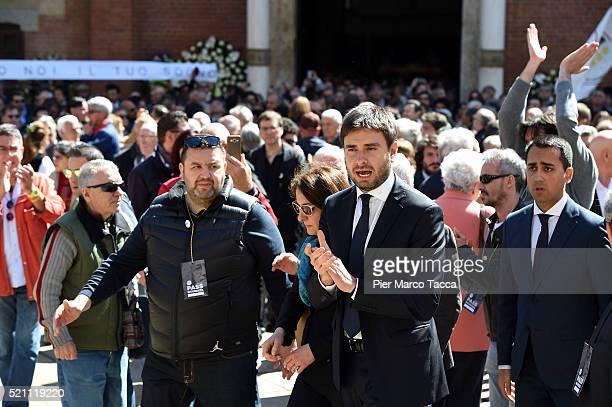 Alessandro Di Battista and Luigi Di Maio leave the church of Santa Maria delle Grazie attend the coffin of Gianroberto Casaleggio during Gianroberto...