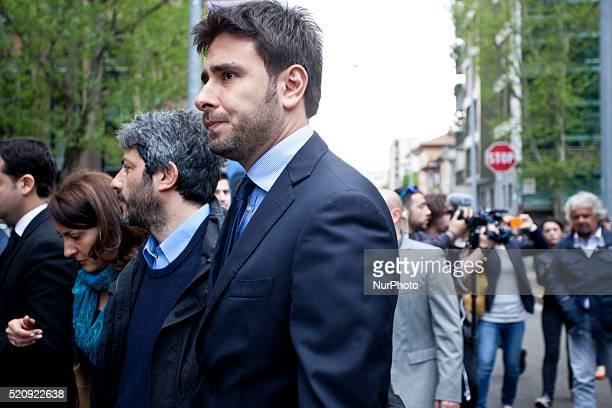 Alessandro di Battista arrives at Italian Institute for Auxology in Milan on April 13th for Casaleggios funeral
