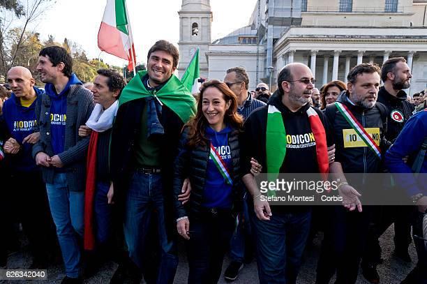 Alessandro Di Battista deputy and senator Paola Taverna Vito Crimi senator of the Five Stars movement during demonstration the Five Stars movement...