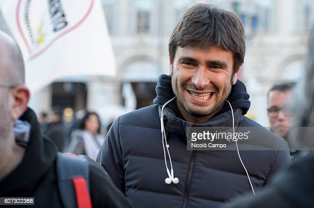 Alessandro Di Battista deputy of the XVII Legislature of the Italian Republic attends a demonstration to support the 'No' to the constitutional...