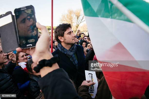 Alessandro Di Battista during a demonstration for the upcoming constitutional referenda to be held on December 4 in downtown Rome on November 26 2016