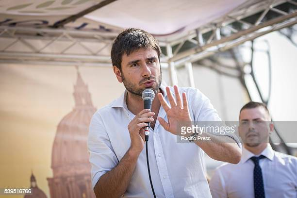 Alessandro Di Battista during the election campaign of Virginia Raggi in Rome