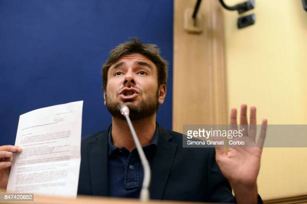 Alessandro Di Battista during the Press conference of the 5 Stars Movement on initiatives with regard to the privileged pension of parliamentarians...