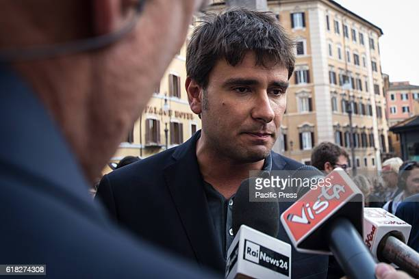 Alessandro Di Battista interviewed by the press during the Manifestation of the 5 Star Movement in support of the bill to halve the salaries of...