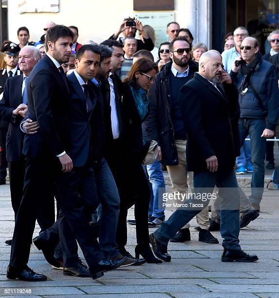 Alessandro Di Battista Luigi Di MaioRoberto FicoCarla Ruocco and Vito Crimi arrive at the church of Santa Maria delle Grazie attend the coffin of...