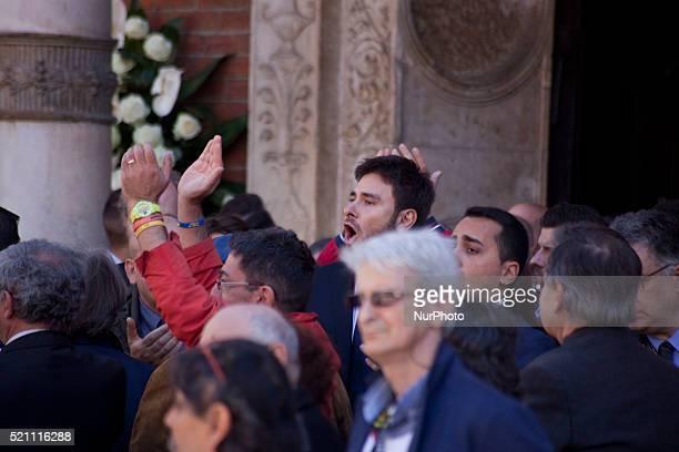 Alessandro di Battista takes place to the funeral of Gianronberto Casaleggio at Santa Maria delle Grazie Cathedral in Milan on April 14th 2016...