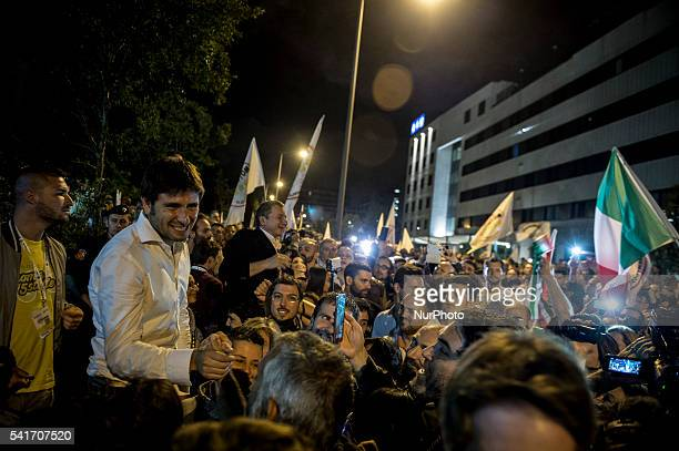 Alessandro Di Battista with the activists celebrate the newly elected mayor of Rome Five Star Movement's candidate Virginia Raggi after winning the...