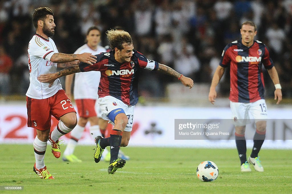 <a gi-track='captionPersonalityLinkClicked' href=/galleries/search?phrase=Alessandro+Diamanti&family=editorial&specificpeople=4891338 ng-click='$event.stopPropagation()'>Alessandro Diamanti</a> # 23 of Bologna FC ( R ) competes the ball with <a gi-track='captionPersonalityLinkClicked' href=/galleries/search?phrase=Antonio+Nocerino&family=editorial&specificpeople=675969 ng-click='$event.stopPropagation()'>Antonio Nocerino</a> # 23 of AC Milan ( L ) during the Serie A match between Bologna and AC Milan at Stadio Renato Dall'Ara on September 25, 2013 in Bologna, Italy.