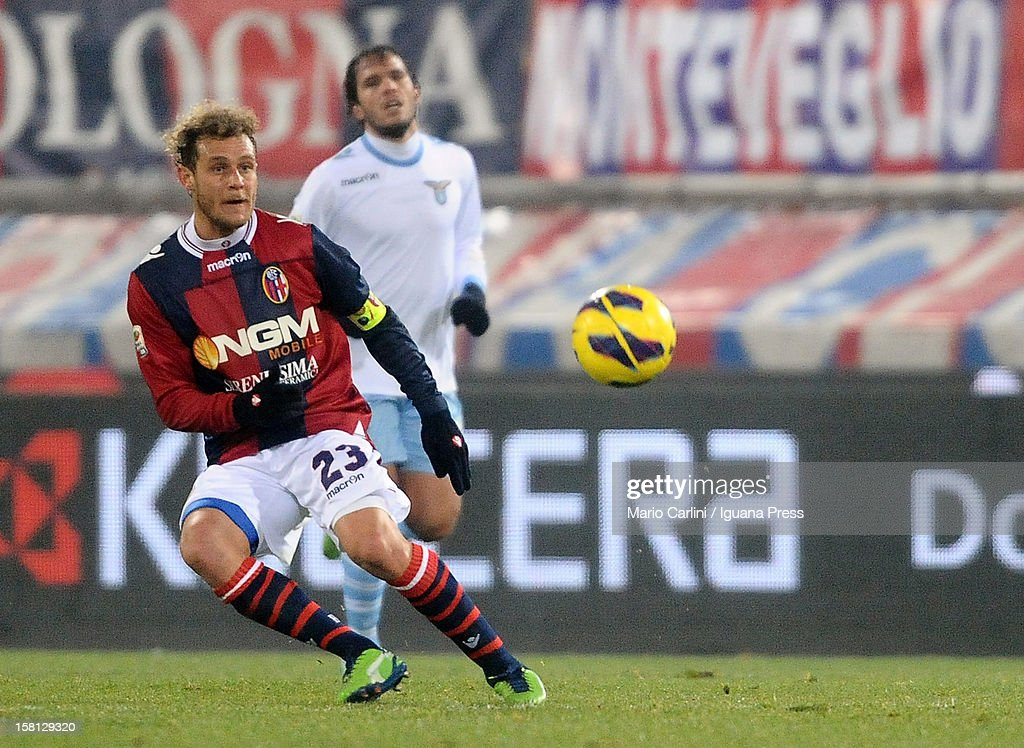 <a gi-track='captionPersonalityLinkClicked' href=/galleries/search?phrase=Alessandro+Diamanti&family=editorial&specificpeople=4891338 ng-click='$event.stopPropagation()'>Alessandro Diamanti</a> # 23 of Bologna FC in action during the Serie A match between Bologna FC and S.S. Lazio at Stadio Renato Dall'Ara on December 10, 2012 in Bologna, Italy.