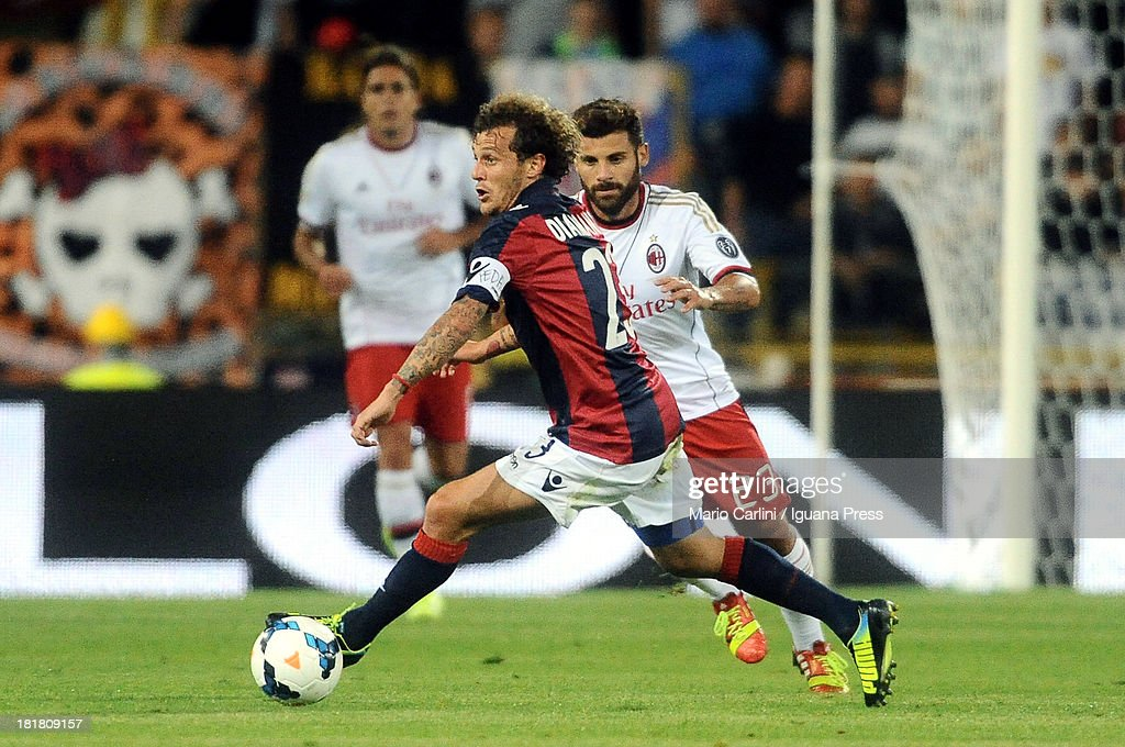 <a gi-track='captionPersonalityLinkClicked' href=/galleries/search?phrase=Alessandro+Diamanti&family=editorial&specificpeople=4891338 ng-click='$event.stopPropagation()'>Alessandro Diamanti</a> # 23 of Bologna FC in action during the Serie A match between Bologna and AC Milan at Stadio Renato Dall'Ara on September 25, 2013 in Bologna, Italy.